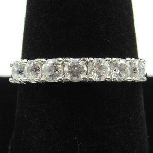 Vintage Size 9.75 Sterling Rustic Clear CZ Ring